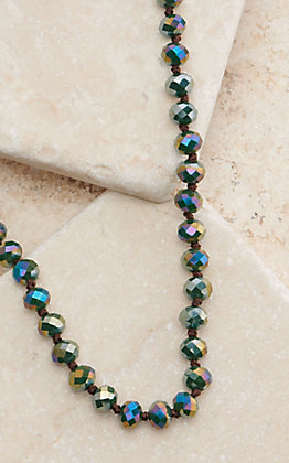 Wired Heart 34 Inch Metallic Dark Multi-Color Beaded Layering Necklace