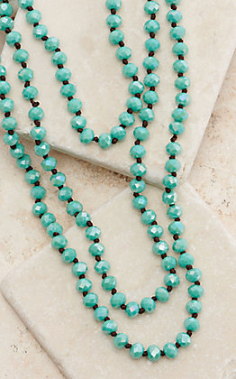 Wired Heart 90 Inch Sparkle Turquoise Beaded Layering Necklace