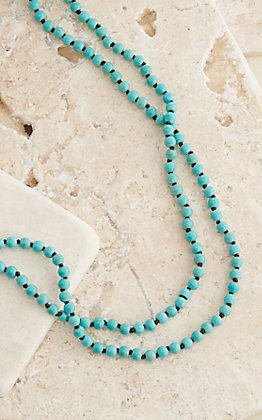 Wired Heart Turquoise Beaded Layering Knot Necklace