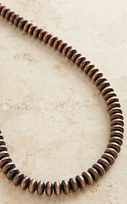 Copper Disk Beaded Long Necklace