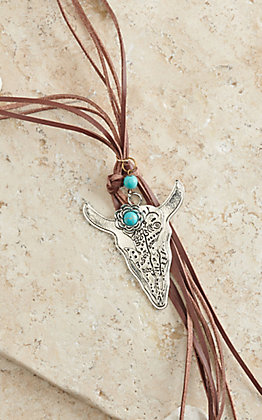 Chocolate Leather with Silver and Turquoise Skull Charm Tassel Necklace