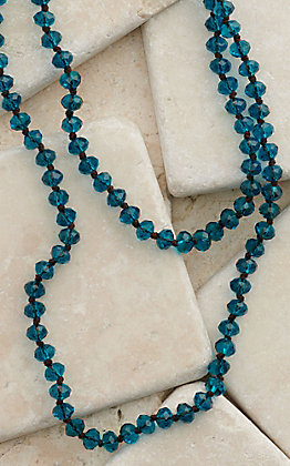 Crooked Fence Clear Teal Beaded Necklace