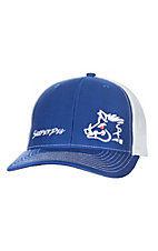 Sniper Pig Royal Blue White Logo w/ White Mesh Snap Back Cap