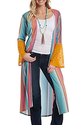 Crazy Train Women's Turquoise Serape Lace Bell Sleeve Duster Kimono