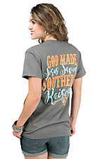 Girlie Girl Originals Women's Charcoal with God Made Jesus Saved Southern Raised Screen Print Short Sleeve T-Shirt