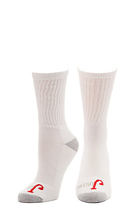 Justin Women's White with Grey Cushion Half Crew Socks