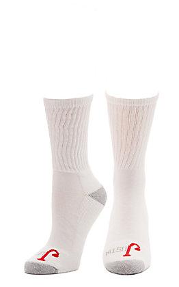 Justin Women's White with Grey Cushion Half Crew Socks