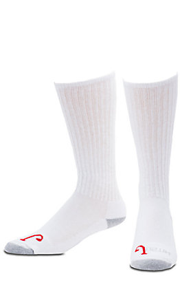 XAN Justin Men's White Half Cushion Cotton Over The Calf with Odor Control 3Pk Boot Socks