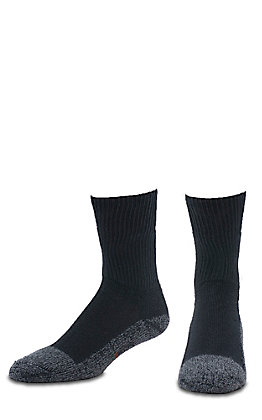 Justin Men's Black Half Cushion Cotton Crew with Odor Control 2Pk Steel Toe Boot Socks - XL