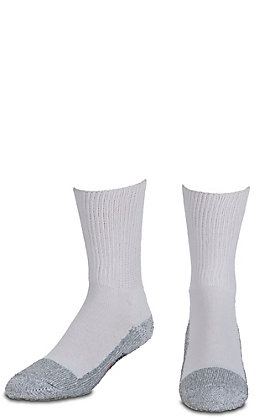 Justin Men's White Half Cushion Cotton Mid Calf with Ordor Control 2Pk Steel Toe Boot Socks