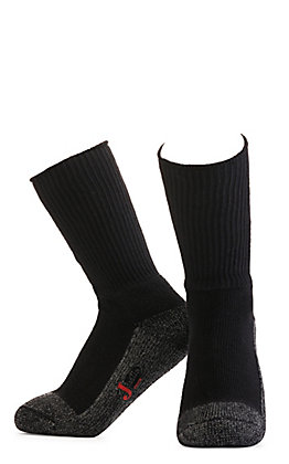 Justin Men's Black Half Cushion Cotton Crew with Odor Control 2Pk Steel Toe Boot Socks - M