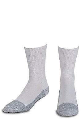 Justin Original Workboots Men's White and Grey Half Cushion with Odor Control Steel Toe Cotton Crew Socks - L