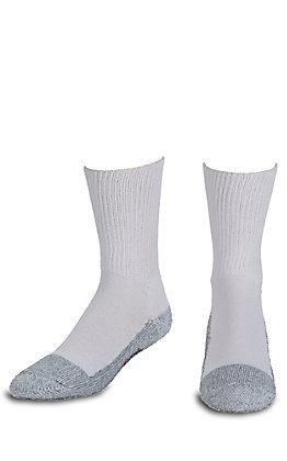 Justin Original Workboots Men's White and Grey Half Cushion with Odor Control Steel Toe Cotton Crew Socks - M