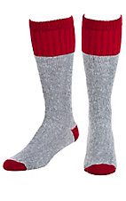 Justin Men's Grey & Red Full Cushion Acrylic Over The Calf with Ordor Control 2Pk Work Boot Socks