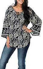 Cowgirl Legend Navy and Cream Paisley Fashion Shirt