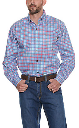 Forge Workwear Men's Red White and Blue Plaid Long Sleeve Shirt