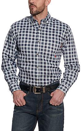 Forge Workwear Men's Navy Plaid Long Sleeve FR Shirt