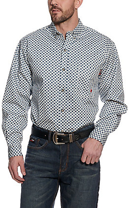 Forge Workwear Men's Cream and Navy Medallion Print Long Sleeve Shirt