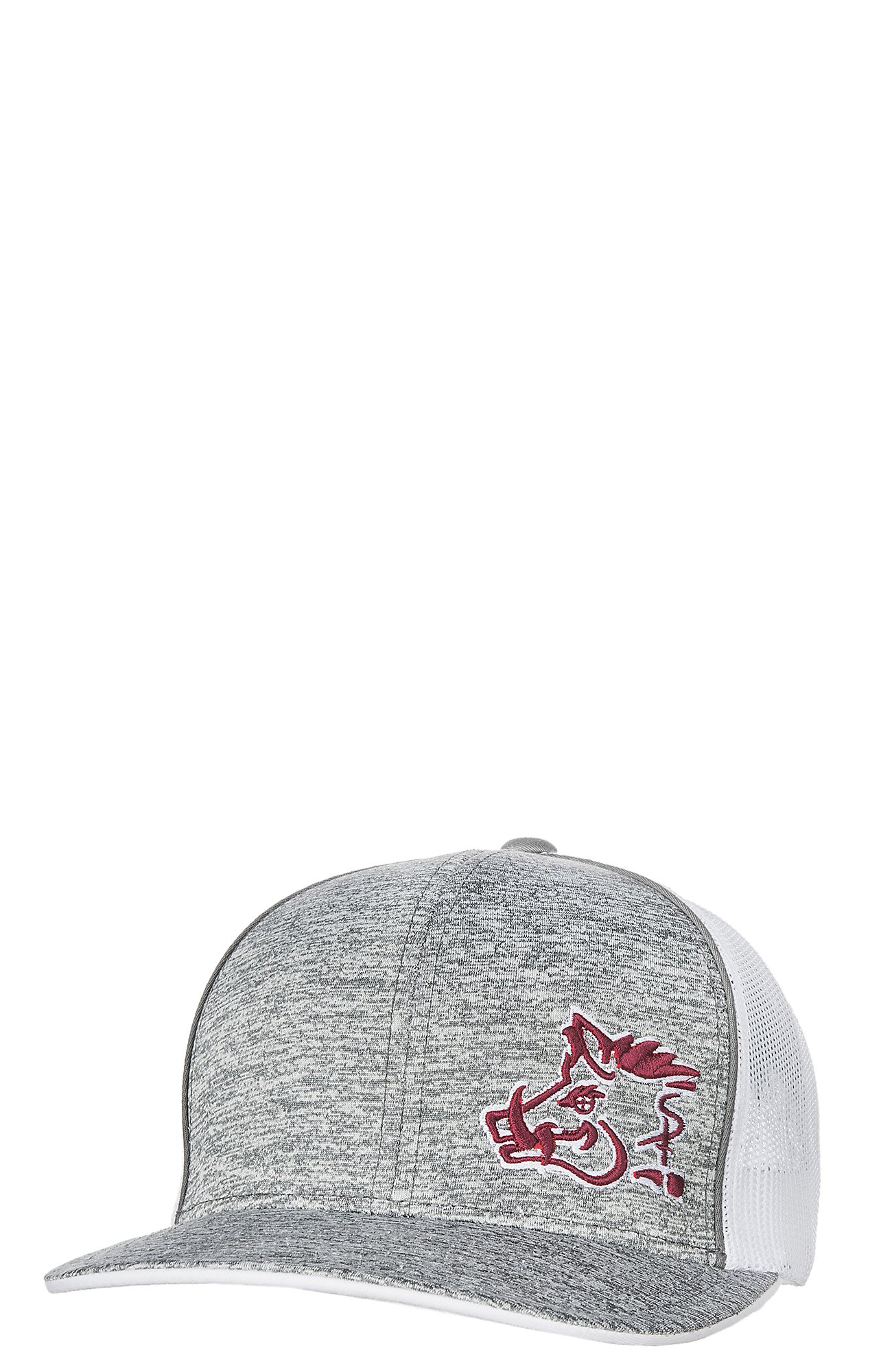 6aeb53087d8 Sniper Pig Heather Grey Maroon Logo w  White Mesh Snap Back Cap ...