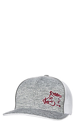 Sniper Pig Heather Grey Maroon Logo with White Mesh Snap Back Cap