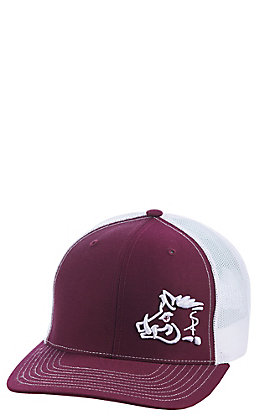 Sniper Pig Maroon with White Logo with White Mesh Snap Back Cap