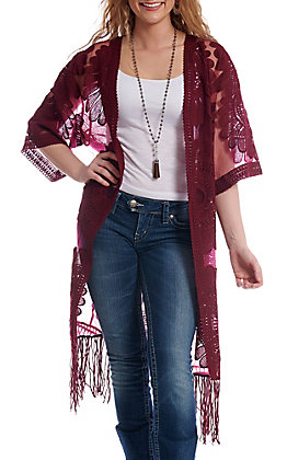 Jealous Tomato Women's Burgundy Sheer With Fringe Kimono
