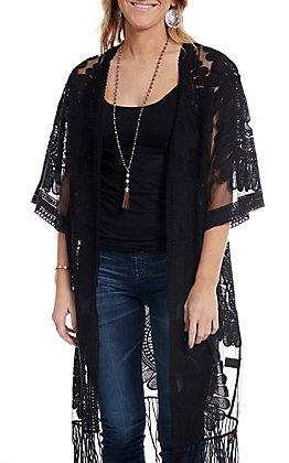 Jealous Tomato Women's Black Sheer with Floral Embroidery 3/4 Sleeve Kimono