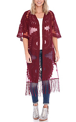 Jealous Tomato Women's Burgundy Lace With Fringe Kimono