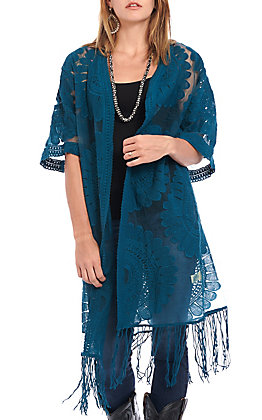 Jealous Tomato Women's Peacock Sheer With Fringe Kimono