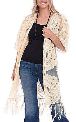 Jealous Tomato Women's Ivory Sheer With Fringe Kimono