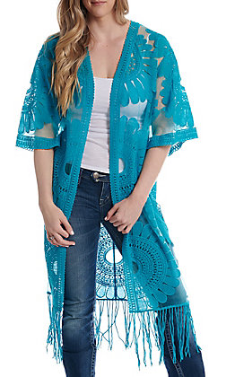 Jealous Tomato Women's Turquoise Sheer With Fringe Kimono