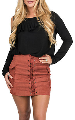 Jealous Tomato Women's Brick Faux Suede Lace Up Pocketed Mini Skirt