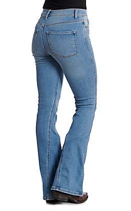 Sneak Peek Women's Light Wash High Rise Flare Jeans