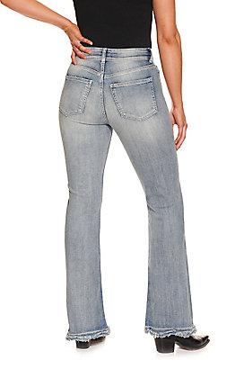 Sneak Peak Women's Light Wash High Rise Flare Jeans