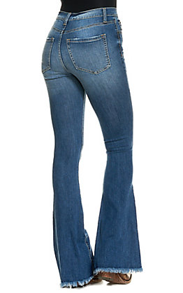 Sneak Peek Women's Dark Wash Button Fly High Rise Frayed Hem Flare Leg Jeans