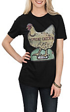 XOXO Art & Co. Women's Black Spring Chicken S/S T-Shirt