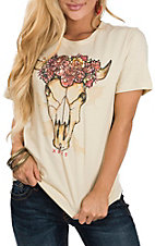 XOXO Art & Co. Women's Soft Cream Cowskull Graphic T-Shirt