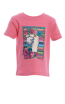 Lucky & Blessed Toddlers Pink Serape Llama T-Shirt
