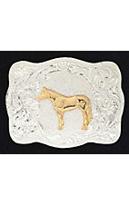 Silver Strike Square Buckle with Gold Horse Center