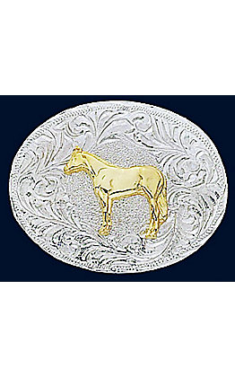 Silver Strike Oval Children's Horse Buckle
