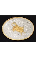 Silver Strike Silver and Gold Bullrider Buckle