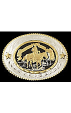 Silver Strike Oval Western Pleasure Buckle