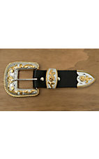 Silver Strike Silver & Gold Floral 3 Piece Buckle Set
