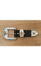 Silver Strike Silver with Gold Star 3 Piece Buckle Set