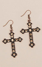 Women's Bronze Crystal Bead Accented Earrings