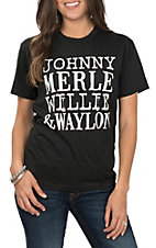 Johnny Merle Willie and Waylon Black Tee