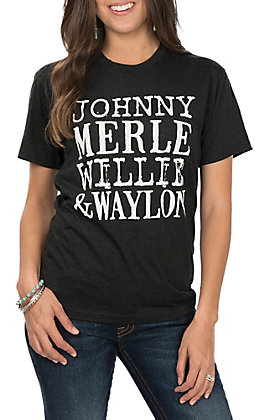Johnny Merle Willie and Waylon Black T-Shirt