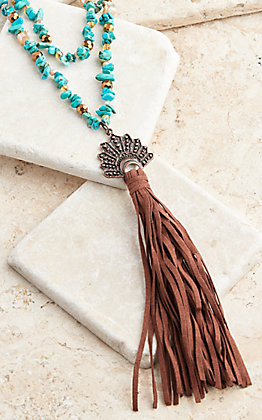 Southern Junkie Turquoise Stone With Indian Headdress Tassel Necklace