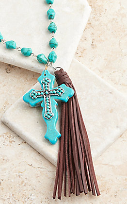 Southern Junkie Turquoise Rock Cross and Brown Leather Tassel Necklace