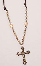 Southern Junkie Jeweled Copper Cross with Brown Beads Necklace